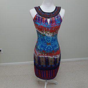 Sleeveless Halter Knee Length Multicolor Dress S